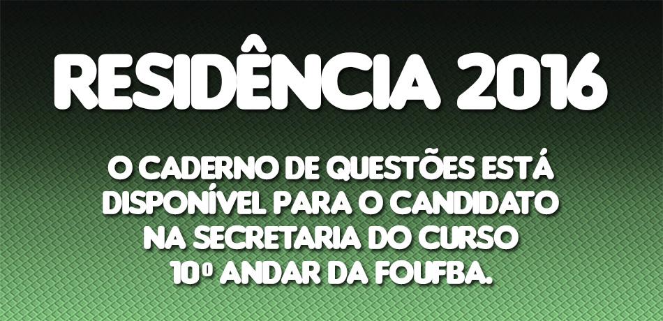 RESIDÊNCIA-2016-CADERNO-QUESTÕES